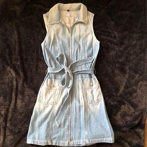 Belted Zip-Front Denim Dress Indigo